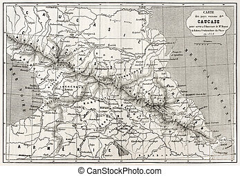 Caucasus map - Old Caucasus map. Created by Villemin, Erhard...