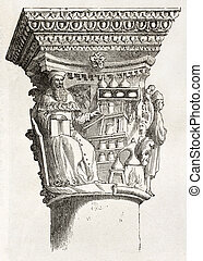 Dubrovnik capital - Capital depicting Asclepius in Duke...