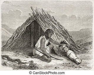 Chimehwhuebes hut - Old illustration of native American...