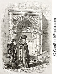 Arab fountain - Old illustration of an Arab fountain in...