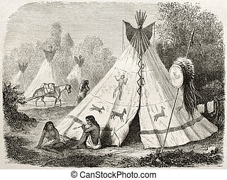 Tepee - Old illustration of a Tepee in Comanche native...