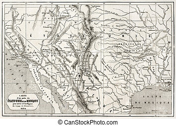 Mexico and USA - Old map of northern Mexico and...