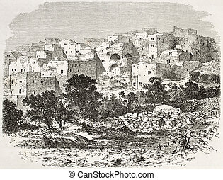 Nazareth - Old view of Nazareth, Palestine. Created by...