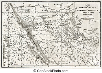 Rocky mountains map - Rocky mountains old map, USA Created...