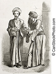 Jews - Old illustration of Jews in Jerusalem. Created by...
