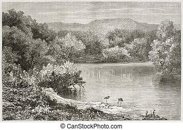 Jordan river - Old view of the Jordan river. Created by...