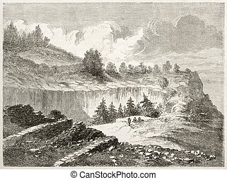 Moro rock - Old view of Moro rock, in Sequoia National Park,...