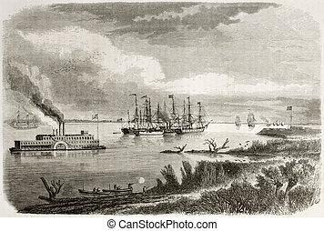Mississipi - Old view of steamship and tug sailing down the...