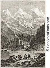 Lac des Arcs - Old view of Lac des Arcs in the Rocky...