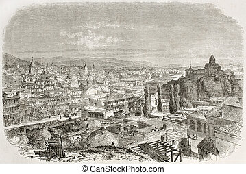 Tbilisi - Old view of Tbilisi, Georgia. Created by Therond...