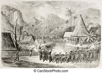 Fiji warriors - Old illustration of Fiji islands warriors...