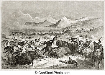 Buffalo hunt - Old illustration of native Americans hunting...
