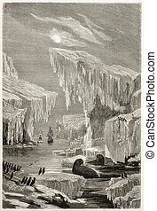 Arctic exploration - Old illustration of Sir John Franklin...