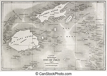 Fiji - Old map of Fiji islands Created by Erhard and...