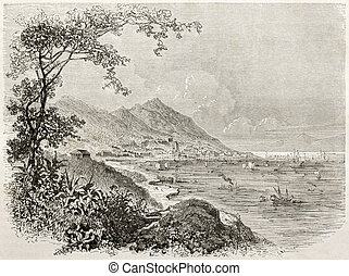 Hong-Kong - Old view of Hong-Kong. Created by Sabatier after...