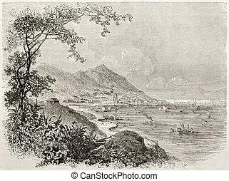 Hong-Kong - Old view of Hong-Kong. Created by Sabatier after...