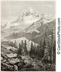 Gauri Sankar - Old view of Gauri Sankar, mountain in...