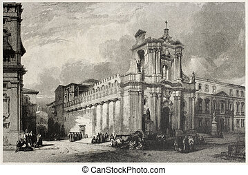 Syracuse cathedral - Old view of Syracuse cathedral, Sicily,...