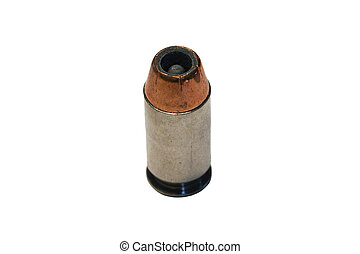 Isolated .45 caliber bullet on white