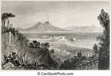 Naples - Old view of Naples with Vesuvius volcano in...