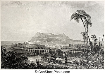 Gibraltar from Algeciras - Old view of Gibraltar from...