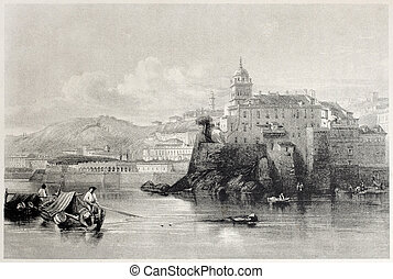 Genoa - Old view of Genoa, Italy. Created by Leitch and...