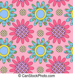 Pink seamless pattern with daisies