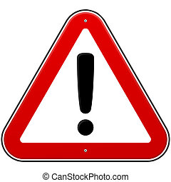 Red Exclamation Sign - Danger Triangle Road sign isolated on...