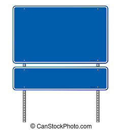 Blank Blue Road Sign - Pair of roadsigns in blue color...