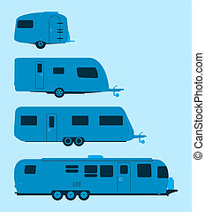 Caravan Silhouette - Several mobile homes illustration in...