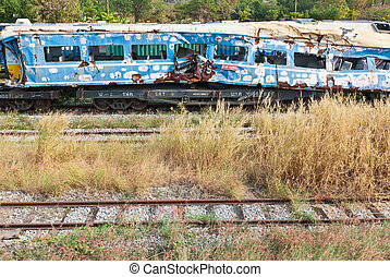A wreckage of crashed or damaged train taken from train yard...