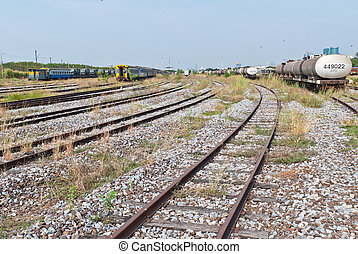 Large railway yard landscape with train on the right - Large...