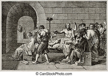Socrates death old illustration, after tablet of David,...