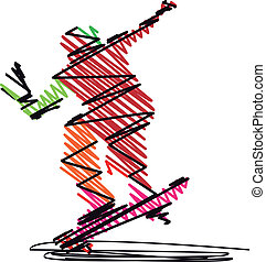 Abstract Skateboarder jumping Vector illustration