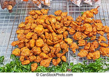 Thai deep fried fish cake on sale on the street - Thai deep...