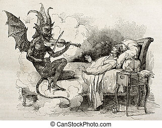 Tartini dream old illustration: Famous composer and...