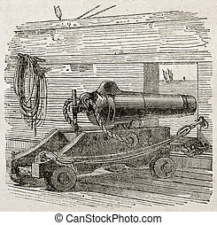 Ship cannon old illustration. By unidentified author,...