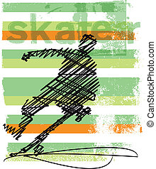 Abstract Skateboarder jumping. Vector illustration made in...