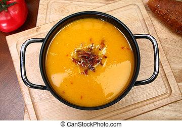 Butternut Squash Soup - Small pot of homemade butternut...