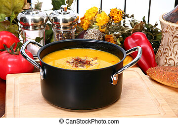 Butternut Squash Soup - Small pot of homemade butternut...