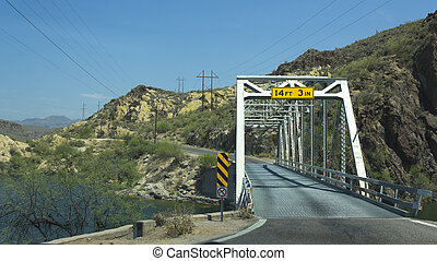 One-Car Bridge, Apache Trail, AZ - Car bridge at Apache...