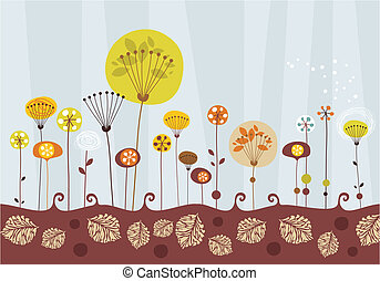 Autumn Garden - Decorative greeting card background with a...