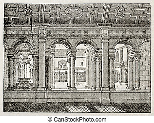 Celestins Cloister old illustration, then profanated during...