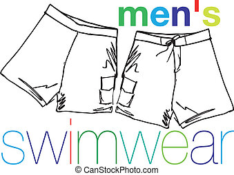 men`s swimwear. Vector illustration