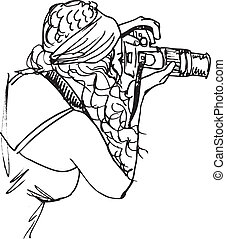 Sketch of Young beautiful woman taking a photo with a...