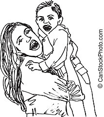 Sketch of mom and child, vector illustration