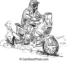 Sketch of motocross bike increase speed in track. Vector...
