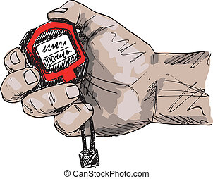 Sketch of Male hand holding a stopwatch Vector illustration