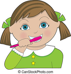 Girl Brushing Teeth - A little girl with pigtails brushing...