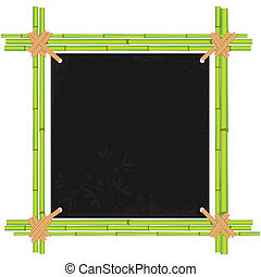 Bamboo frame with tropic old paper - Bamboo asian frame with...